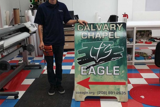 Calvary Chapel A-Frame sign by Signs2u