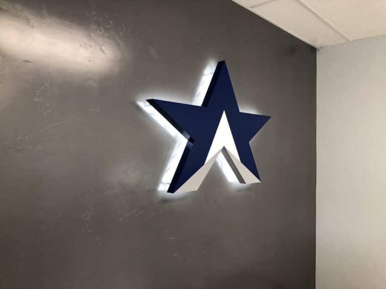 Textrail3D letters wall logo