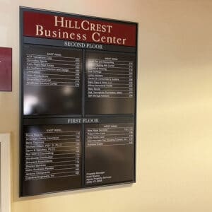 wall directory sign