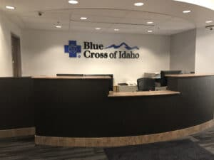 blue cross reception sign