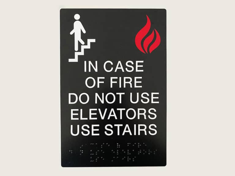 do not use elevators sign