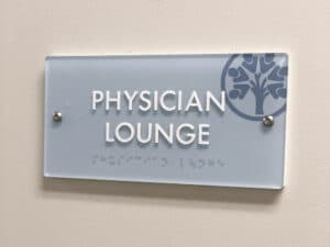 hospital physician lounge ADA sign